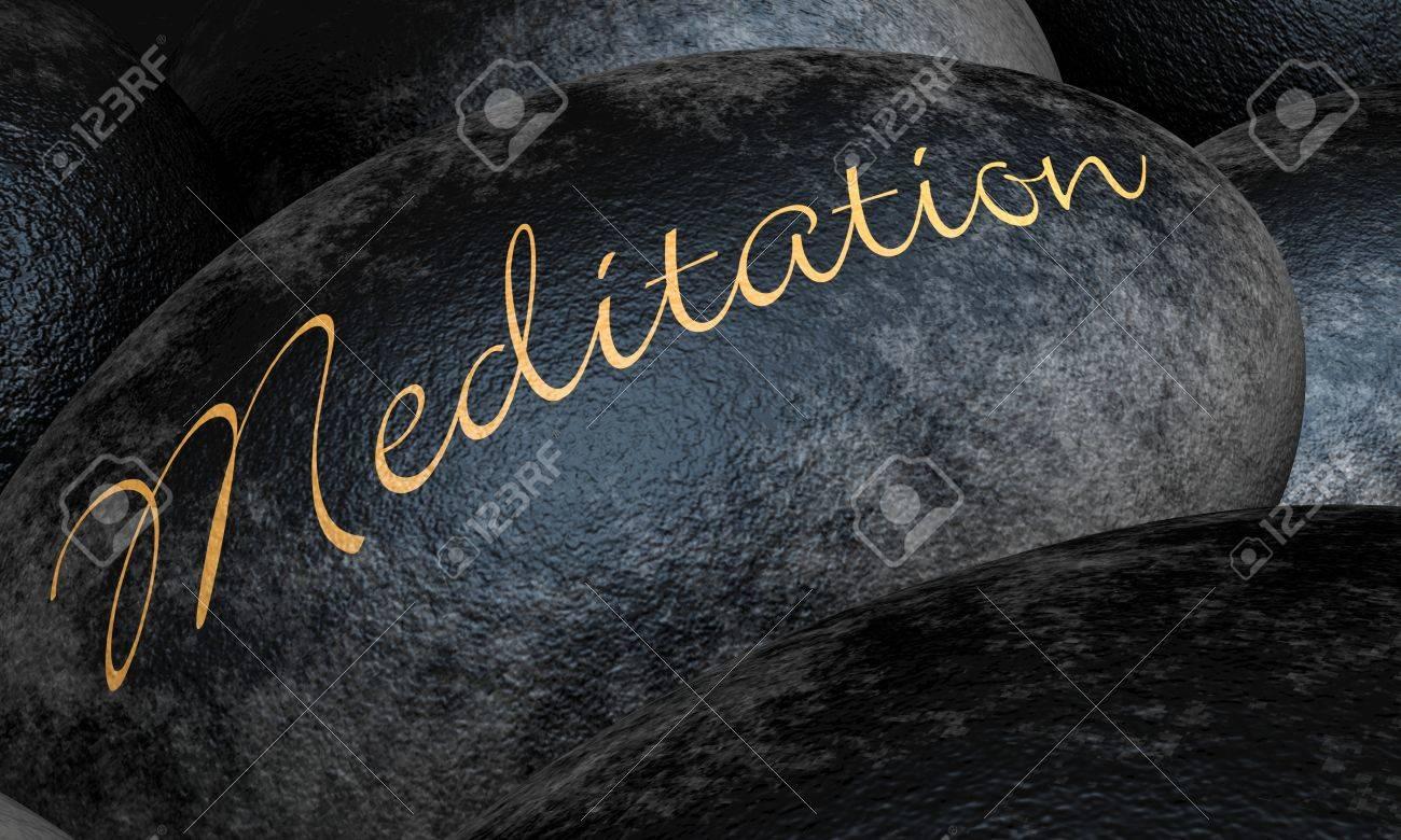 Black stones with text - Meditation Stock Photo - 14839687