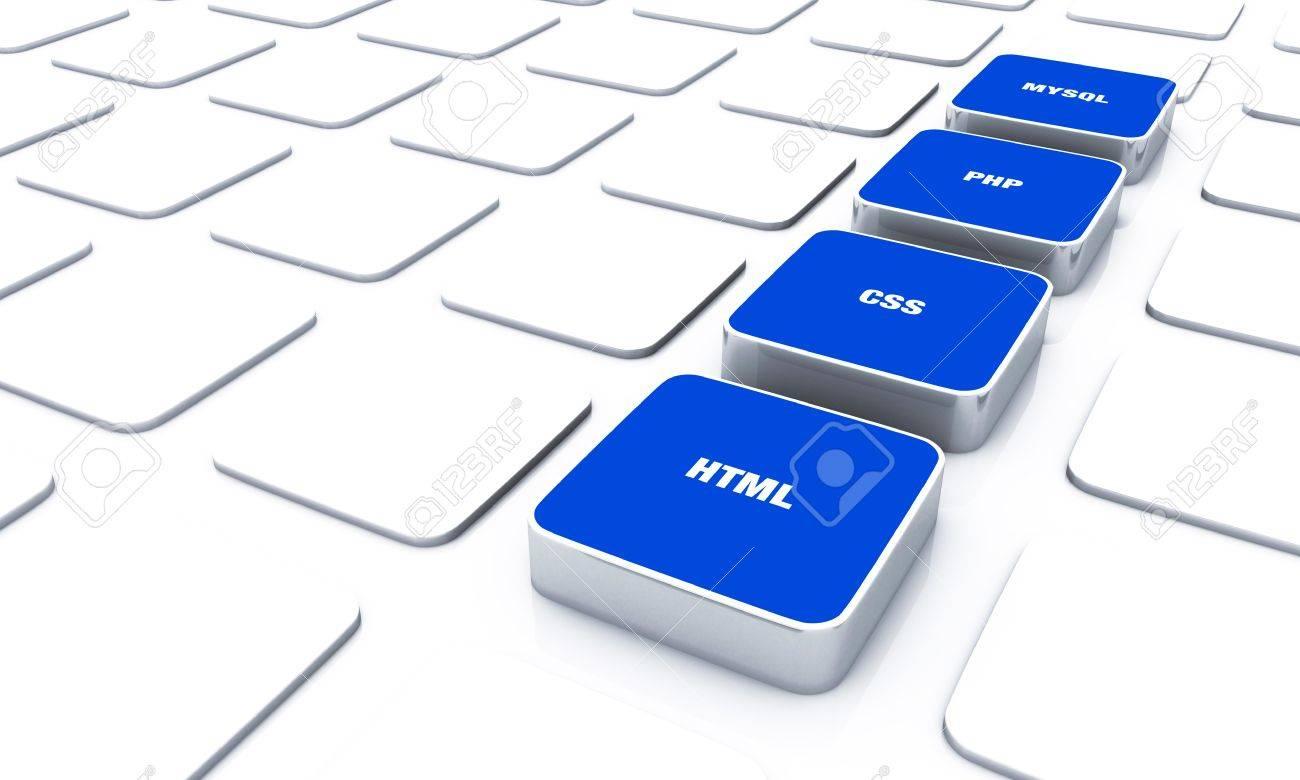 3D blue pads - PHP MYSQL HTML CSS 9 Stock Photo - 16524841