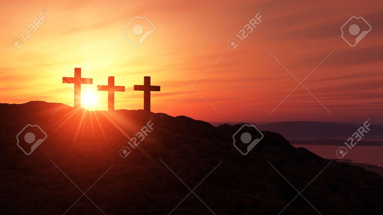 3 crosses on the summit Stock Photo - 18732616