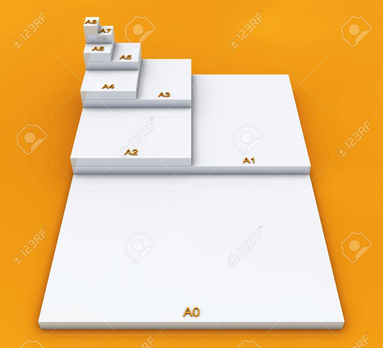 3D format DIN A0 to A8 concept - Weia on Orange 01 Stock Photo - 18732608