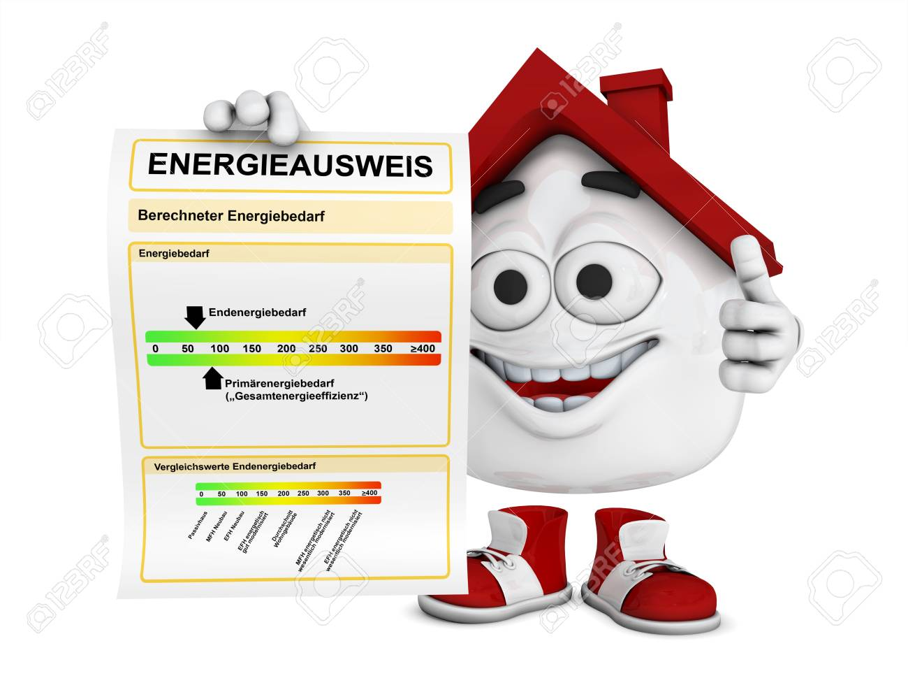 Small 3d house red - Energy Performance Certificate Concept Stock Photo - 18732698