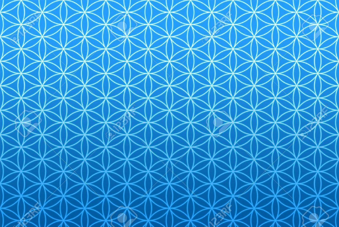 wallpaper flower of life pattern - blue Banque d'images - 42835459