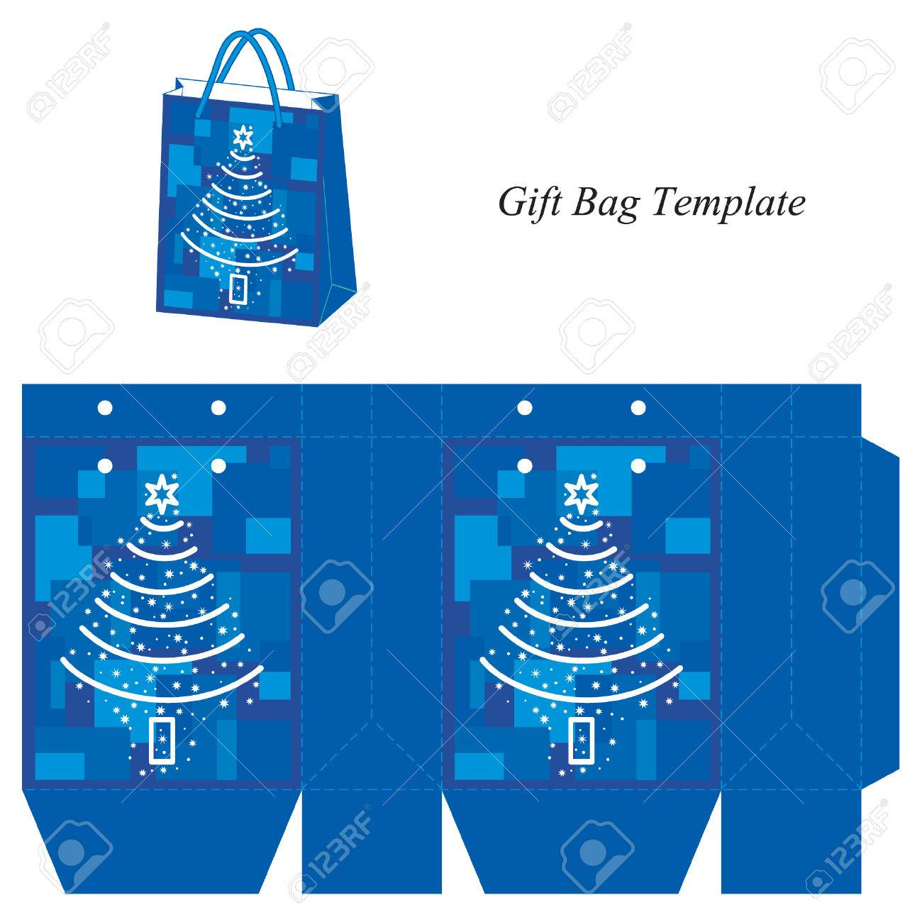 Christmas Gift Bag Template Vector Illustration Isolated Stock