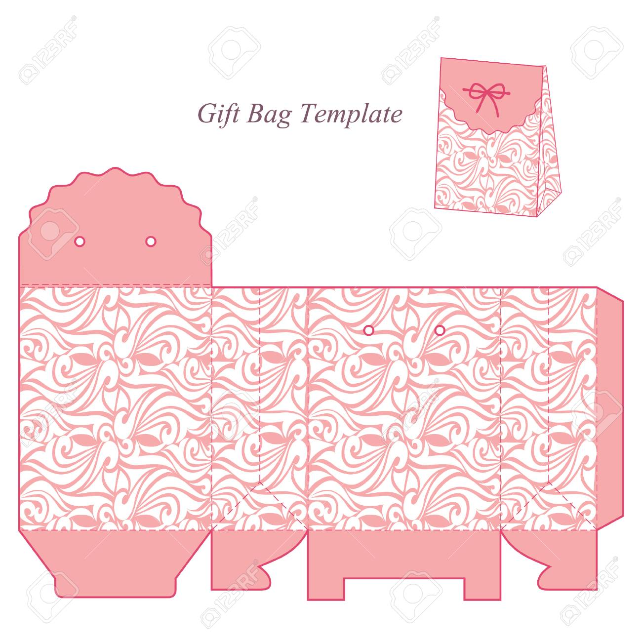 gift box template with lid pink with white pattern isolated