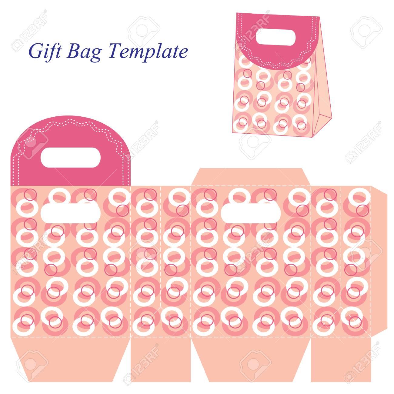 Pink Gift Bag Template With Circles Royalty Free Cliparts, Vectors ...