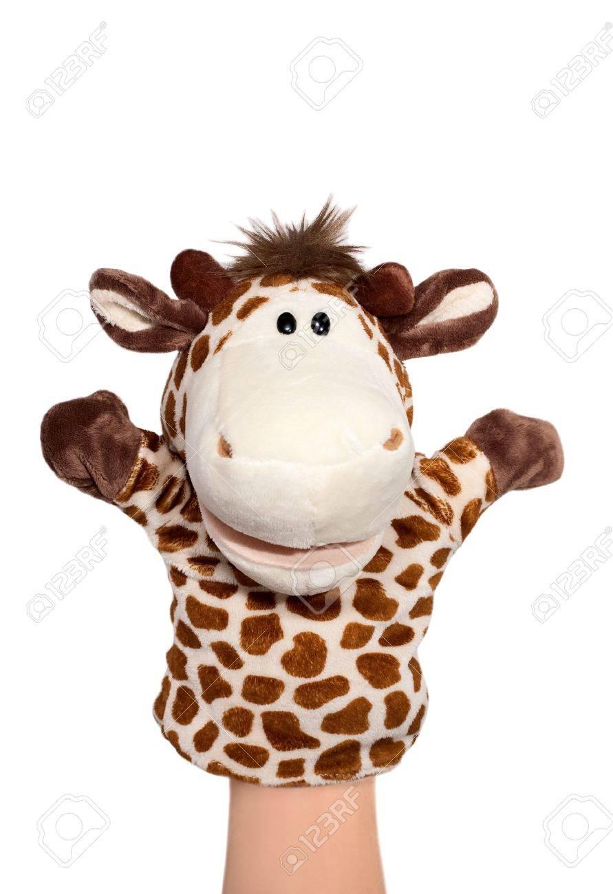 Hand puppet of zebra isolated on white, happy emotion - 12728882