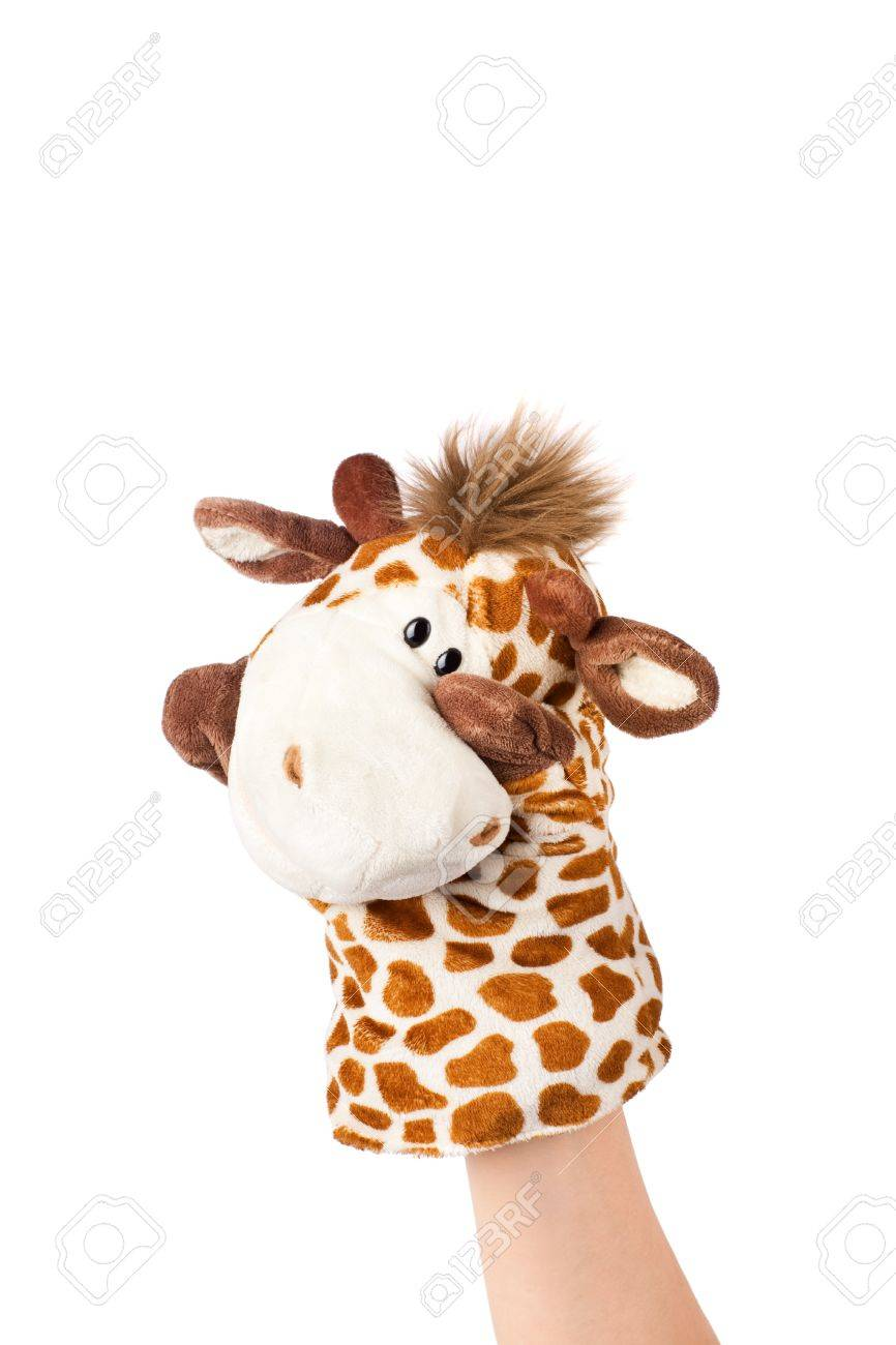 Hand puppet of giraffe isolated on white, shy emotion. Stock Photo - 12903133