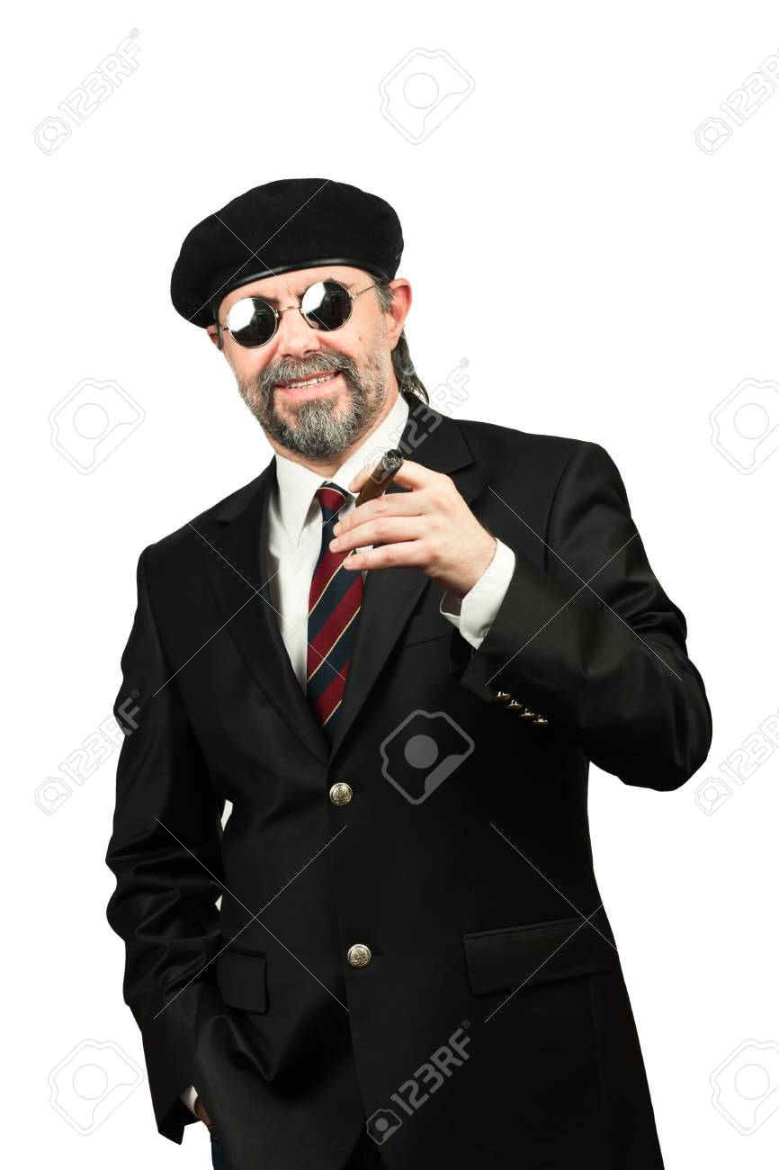 Closeup portrait of stilish man in beret and in sunglasses smoking cigar Stock Photo - 19821947
