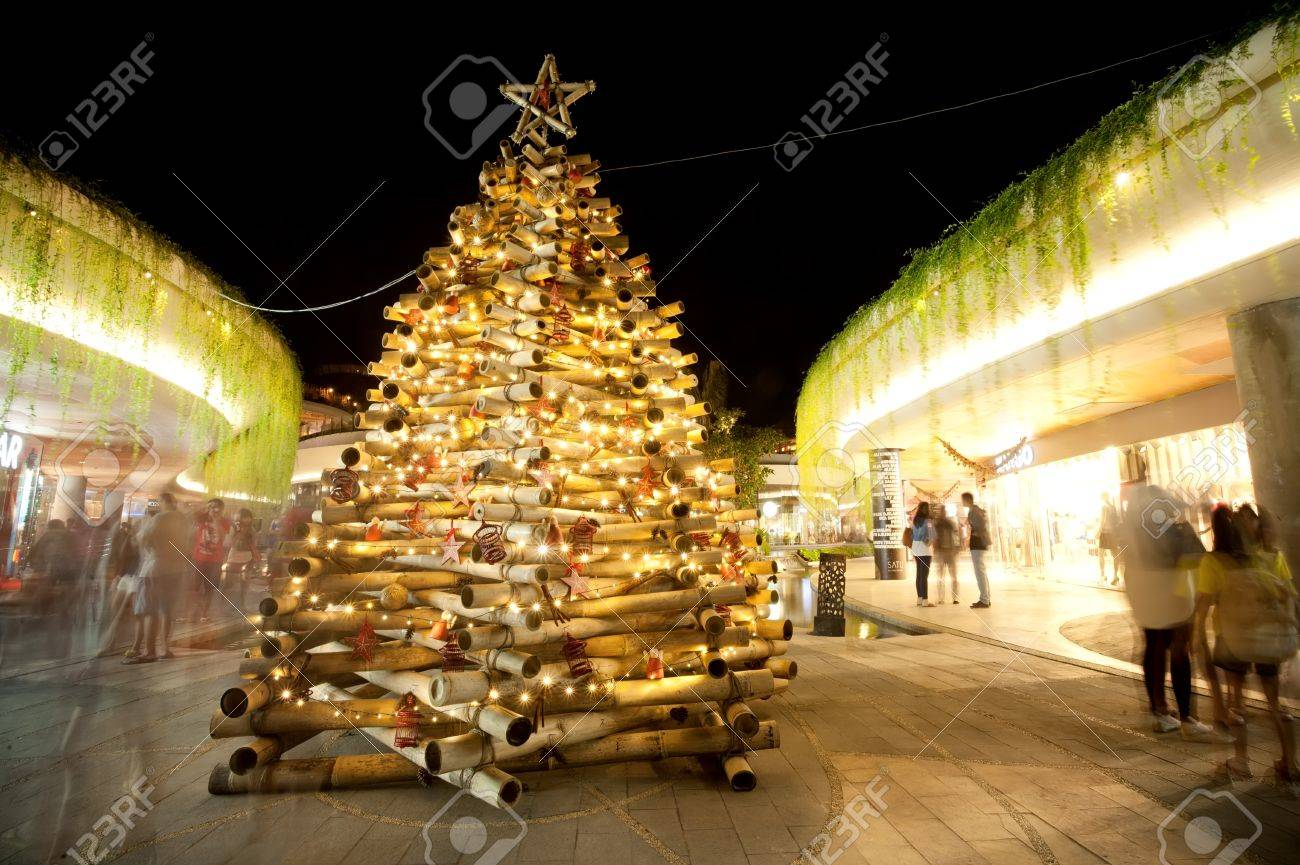 bali december 27 christmas tree of bamboo stalks shopping complex kuta stock photo - Christmas Tree Shopping