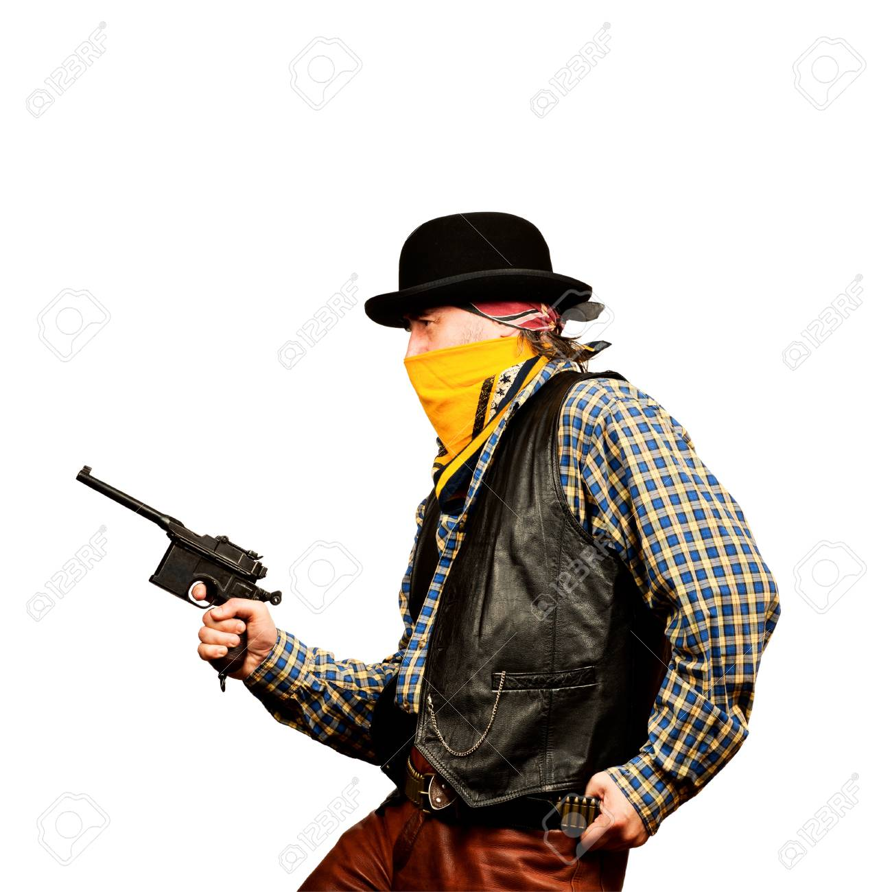 bad guy robs bank on white square background Stock Photo - 19822072