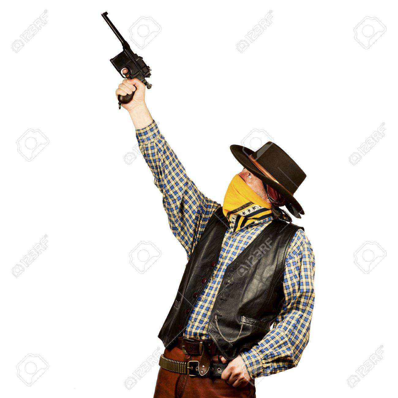 bad guy tries to target someone on white square background Stock Photo - 19822175