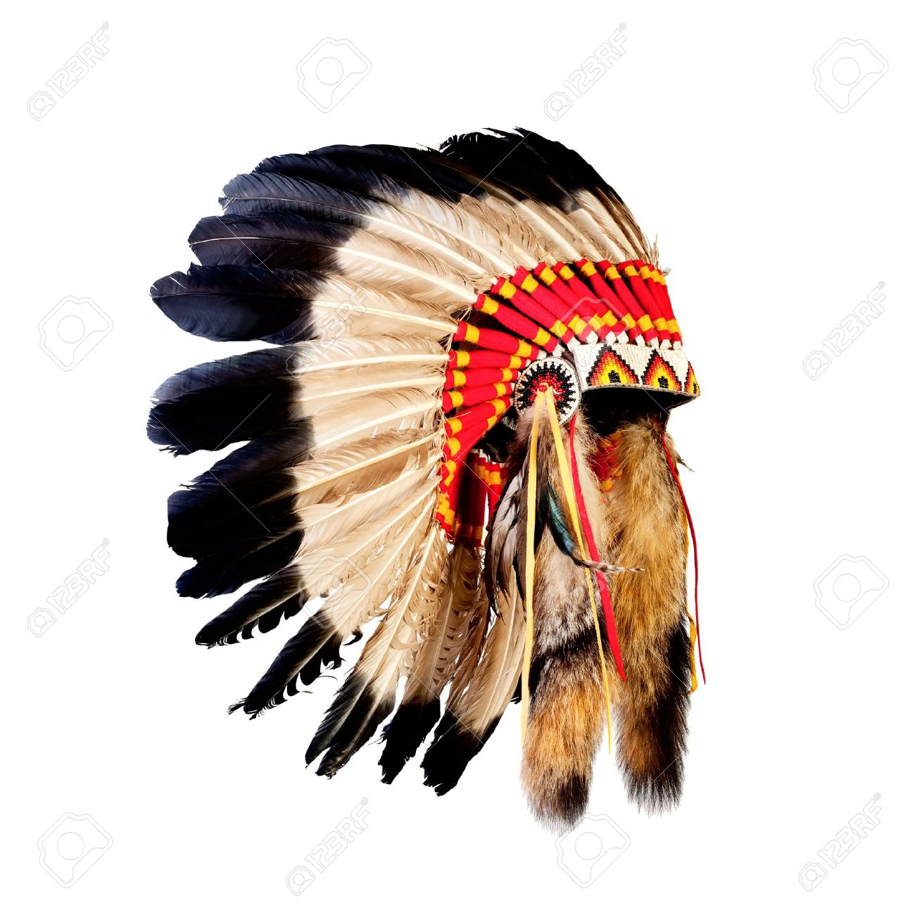 native american indian chief headdress (indian chief mascot, indian tribal headdress, indian headdress) - 19786449