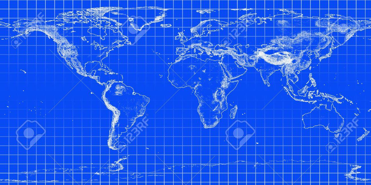World grid system world map activity 1 grade 45 world map world bluewhite map with grid stock photo picture and royalty grid world map gumiabroncs Choice Image