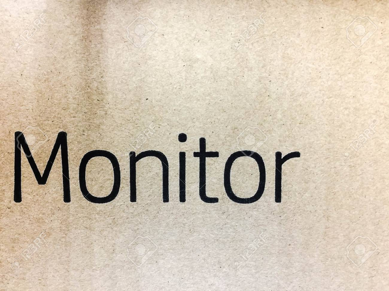 Bunte Braune Papier Textur Hintergrund Mit Monitor Wort Lizenzfreie