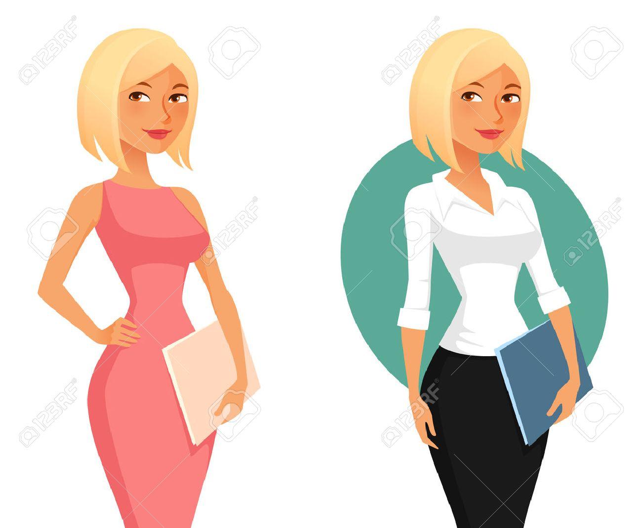 cute cartoon office girl or secretary holding folders - 40354954