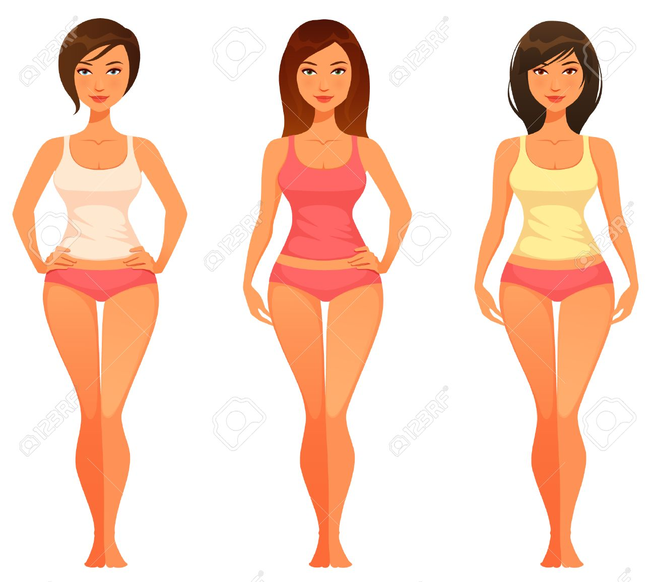 cartoon illustration of a young woman with healthy slim body - 40656811