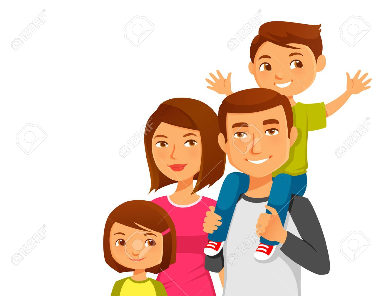 happy cartoon family royalty free cliparts vectors and stock rh 123rf com cartoon family pictures mom pregnant cartoon family pictures clip art