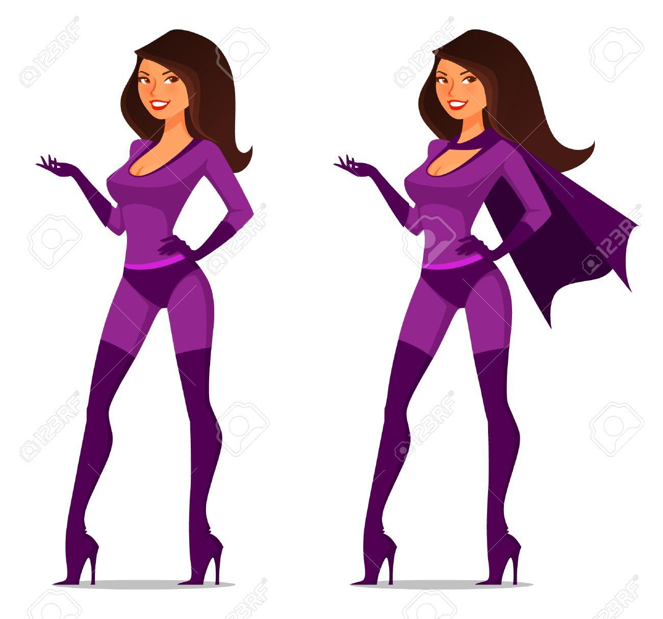 banque dimages fille de bande dessine sexy en costume de super hros avec cape - Super Heros Fille