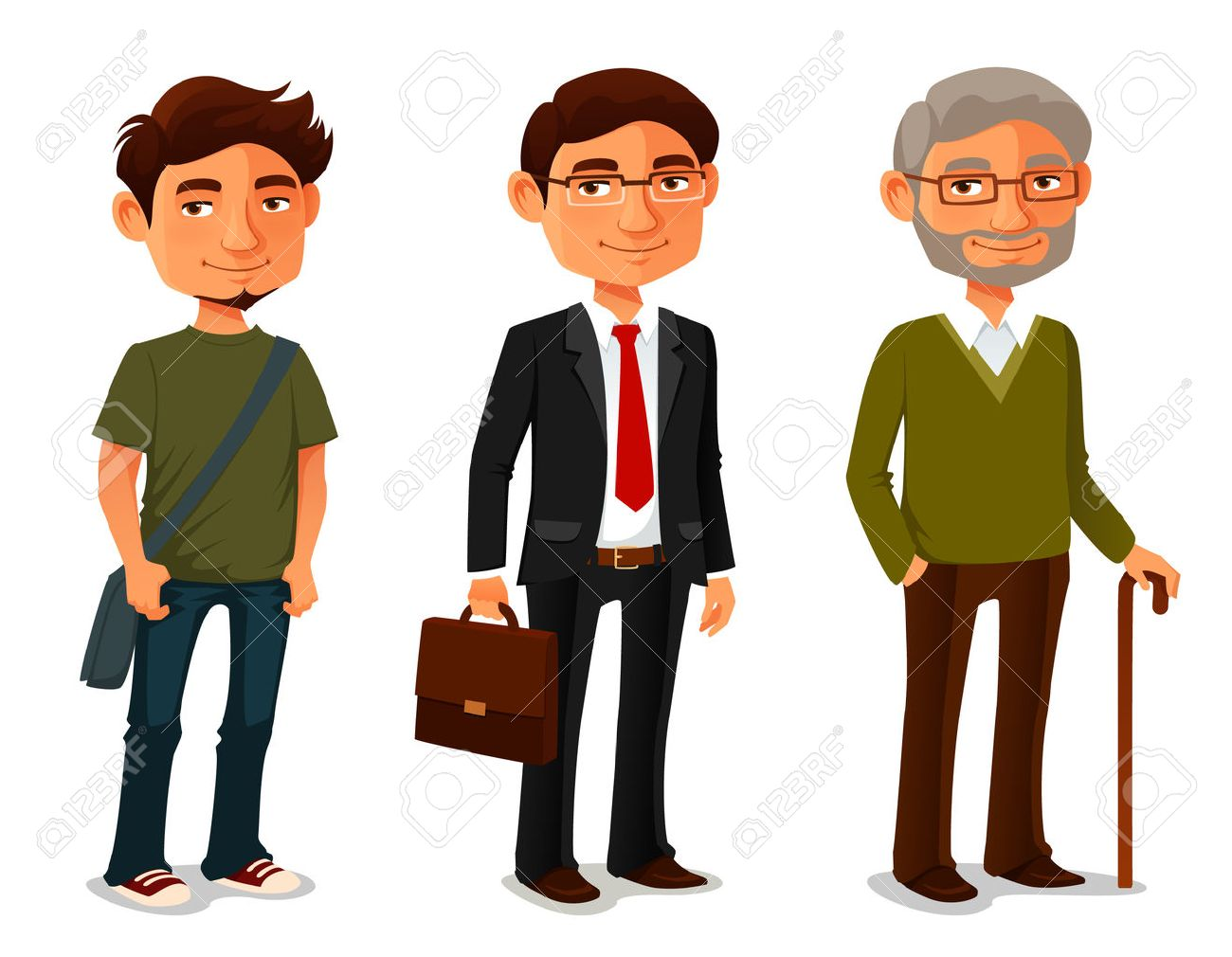 cartoon characters showing age progress royalty free cliparts