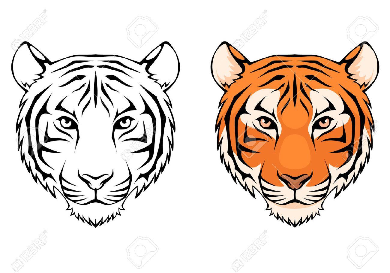 Ilustración Línea De Una Cabeza De Tigre Ilustraciones Vectoriales