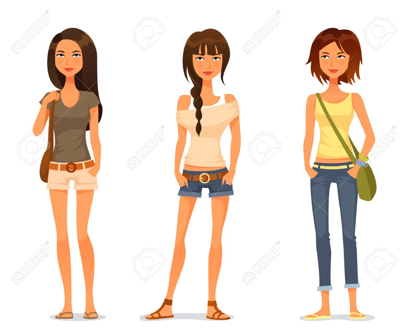 Cute Teenage Girls In Spring Or Summer Fashion Clothes Royalty ...