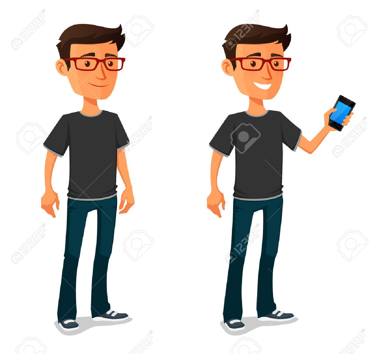 funny cartoon guy with mobile phone - 41708881