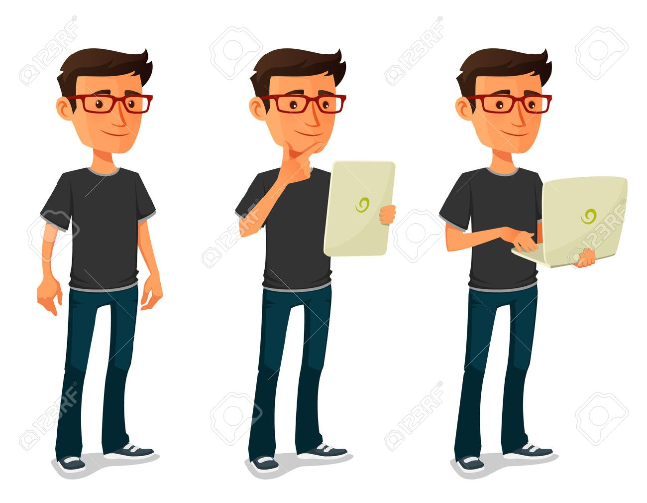 cartoon guy with tablet and notebook - 41708882