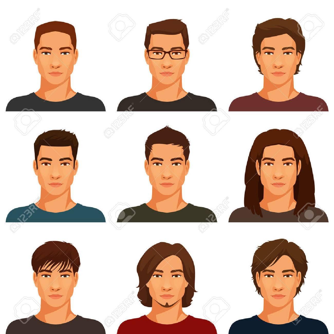 様々 な髪型の若いハンサムな男性 ロイヤリティフリークリップアート