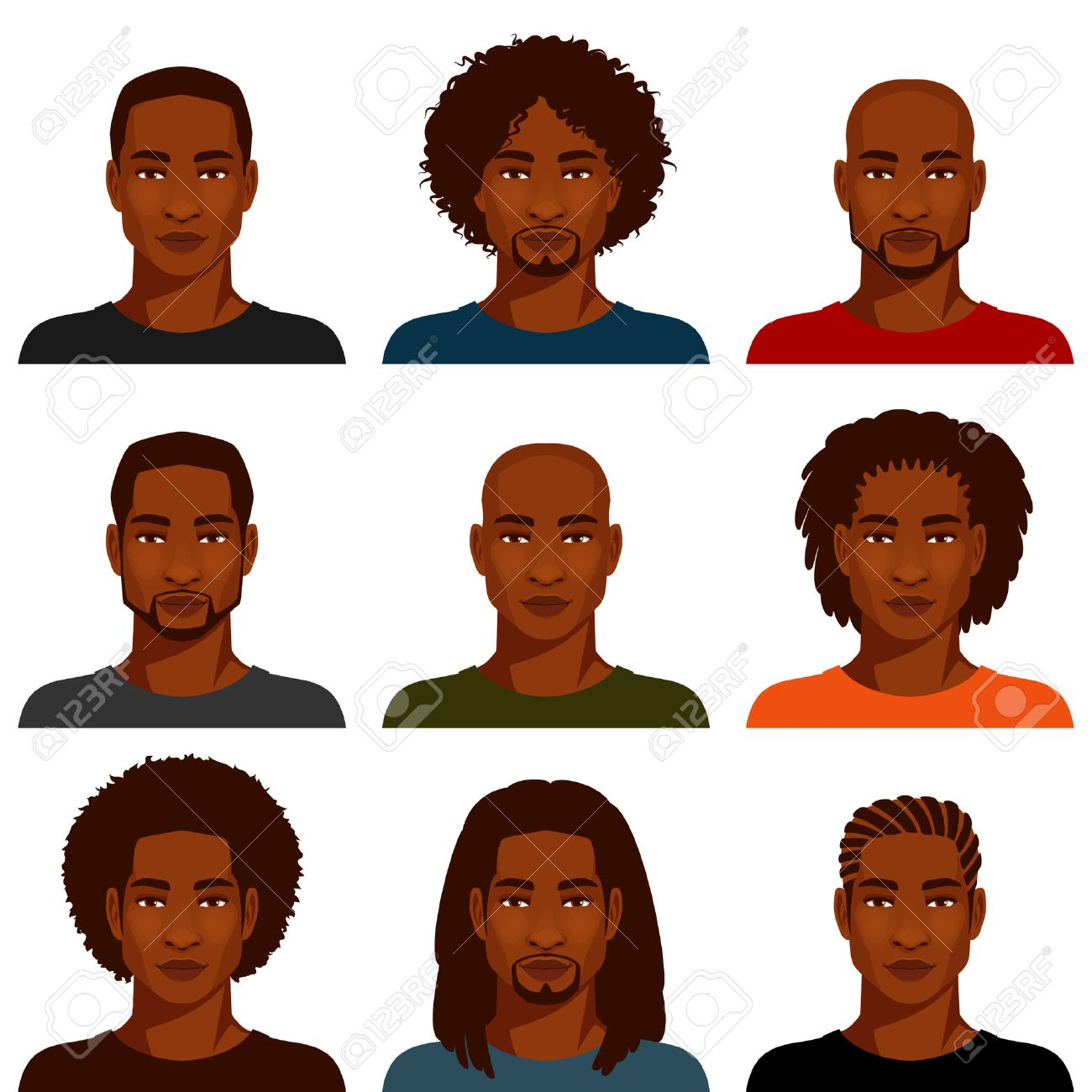 African American Men With Various Hairstyles Stock Vector