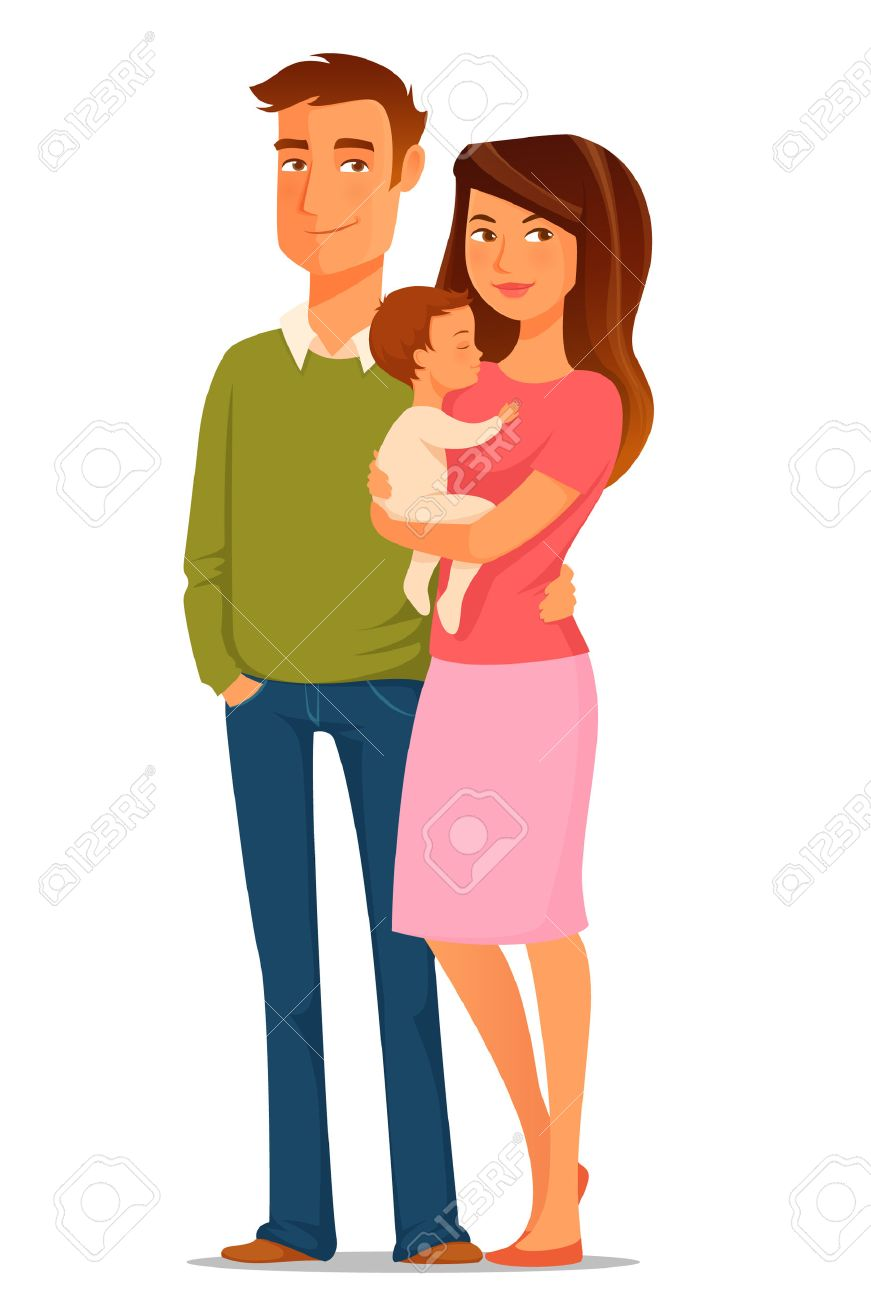 cartoon illustration of a young happy family - 42029108