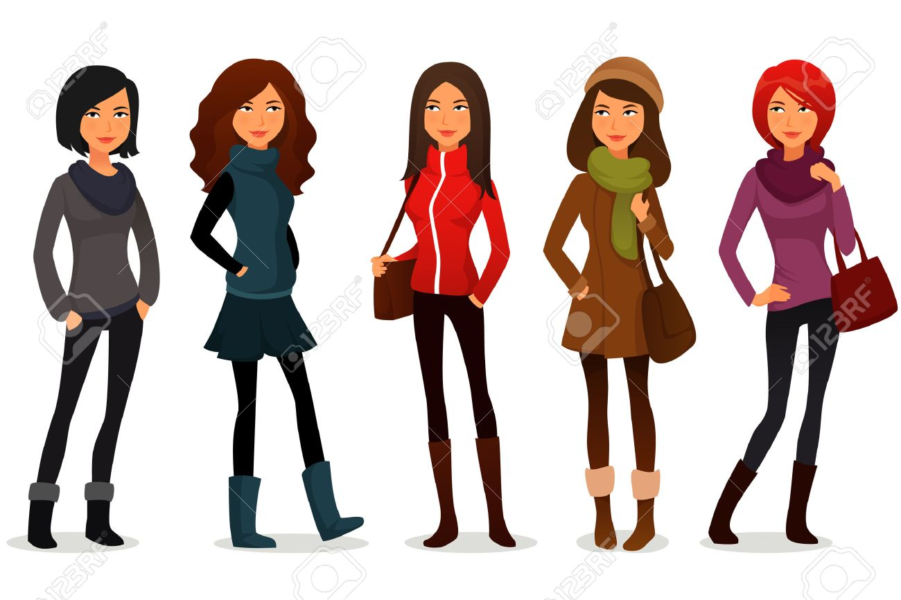 chicas dibujos animados en ropa de colores foto de archivo