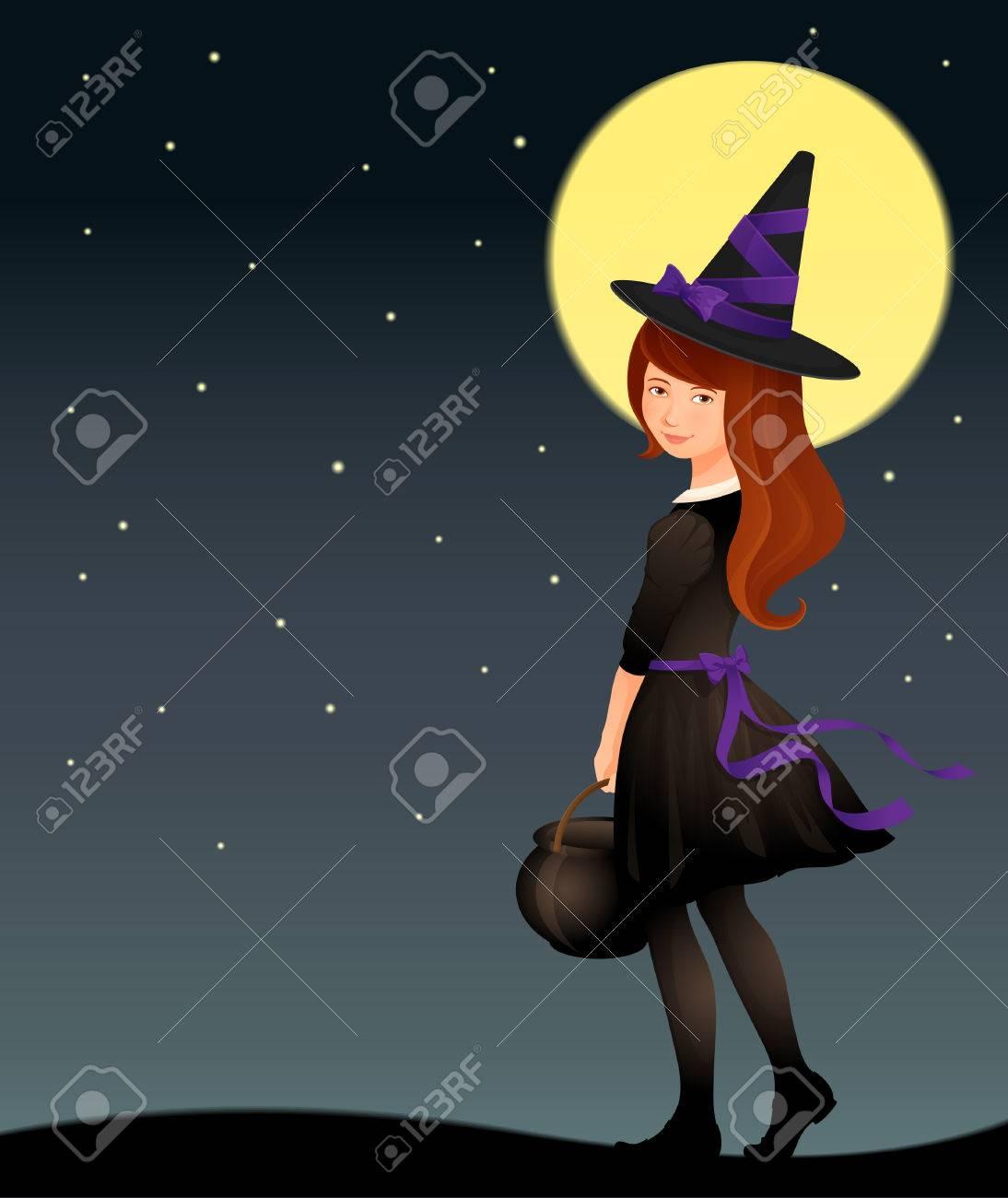 ハロウィーンの夜の星空のかわいい魔女の少女のイラストのイラスト素材