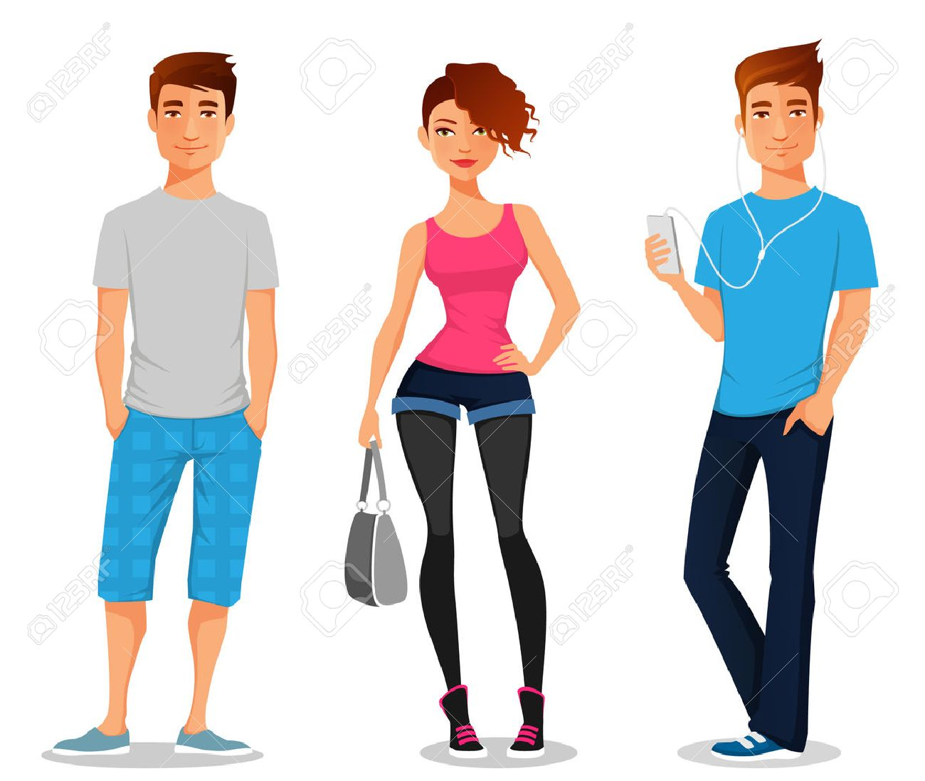 cartoon illustration of young people - 42150078