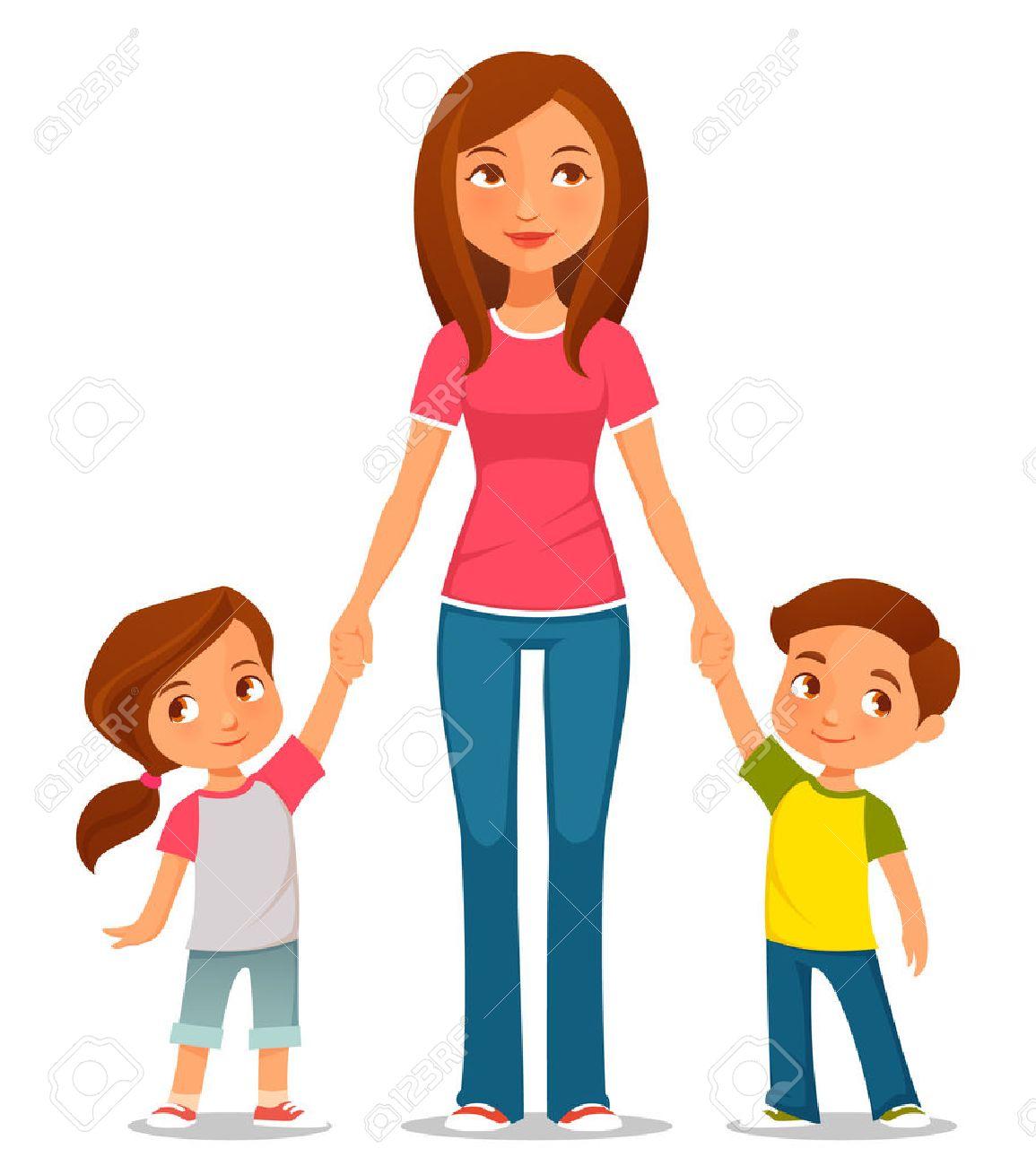 2 人の子供を持つ母のかわいい漫画イラスト ロイヤリティフリー