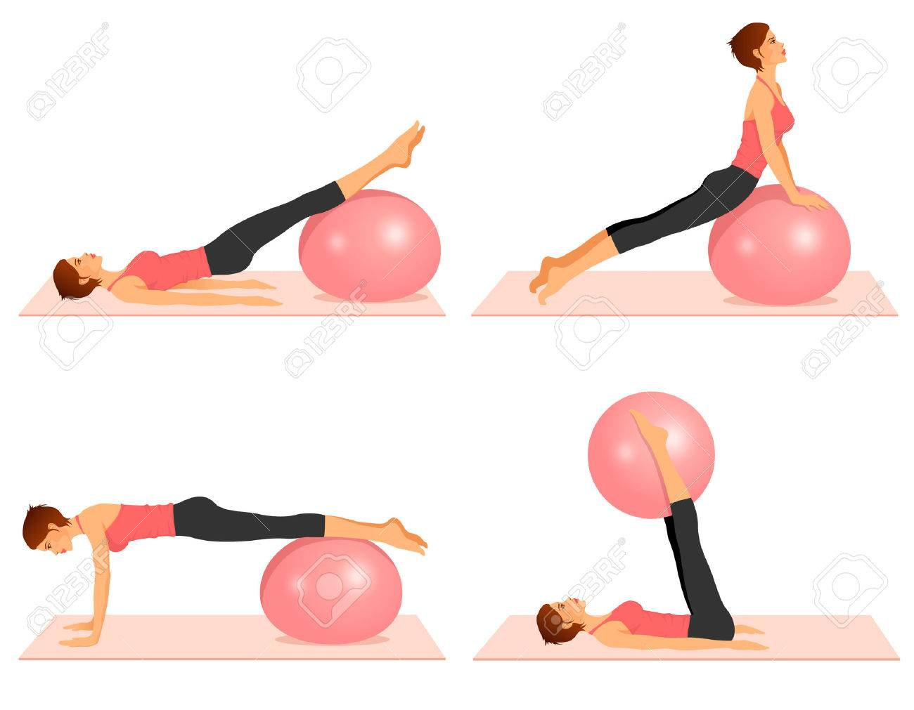 Top Série D'illustrations Montrant Les Exercices De Pilates Avec  YH63