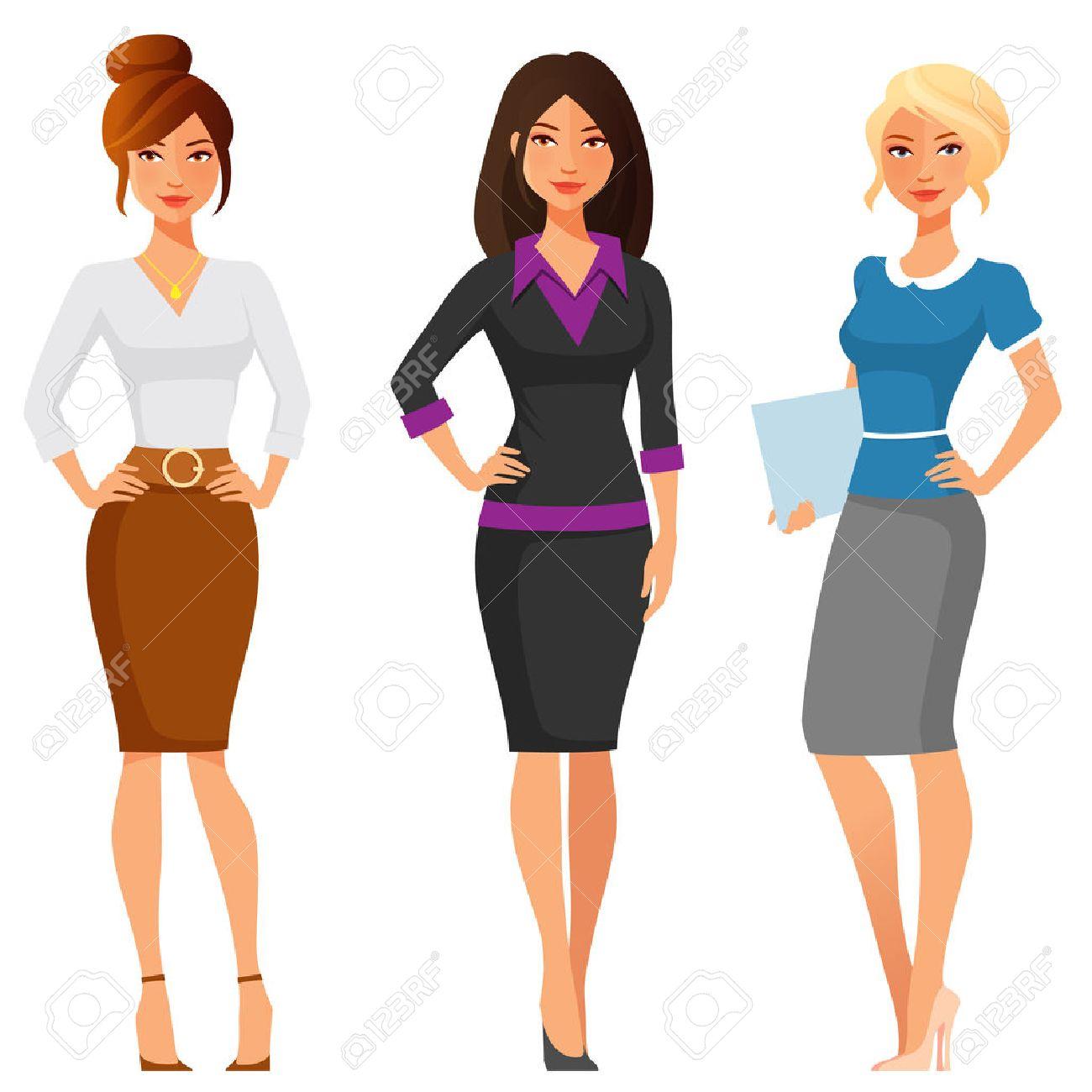 Attraktive Junge Frauen In Eleganten Buro Kleidung Lizenzfrei Nutzbare Vektorgrafiken Clip Arts Illustrationen Image 49109869