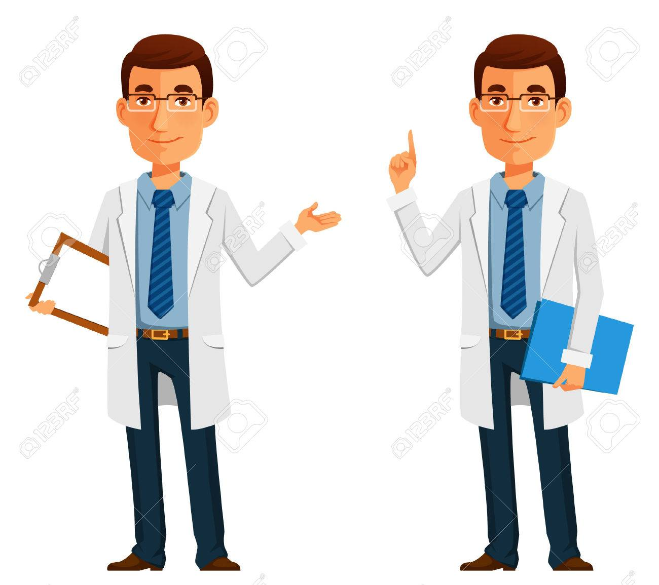 cartoon illustration of a friendly young doctor - 60225904
