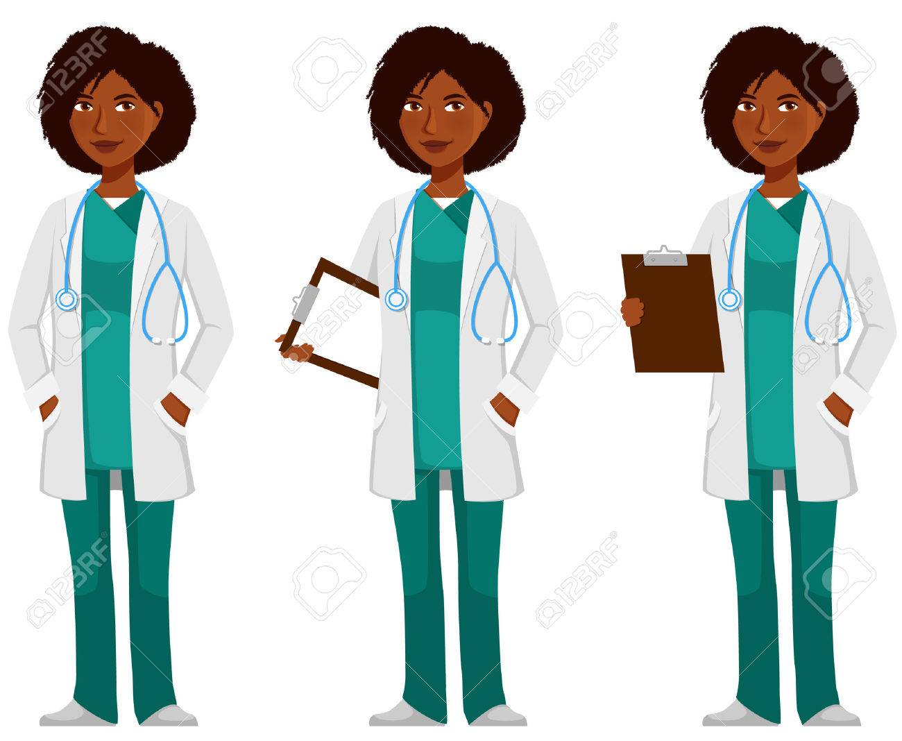 cartoon illustration of an African American doctor - 68811149