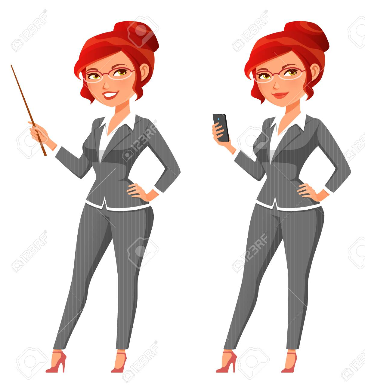 Funny Cartoon Business Woman Holding A Pointer Or A Cell Phone Royalty Free Cliparts Vectors And Stock Illustration Image 96577679