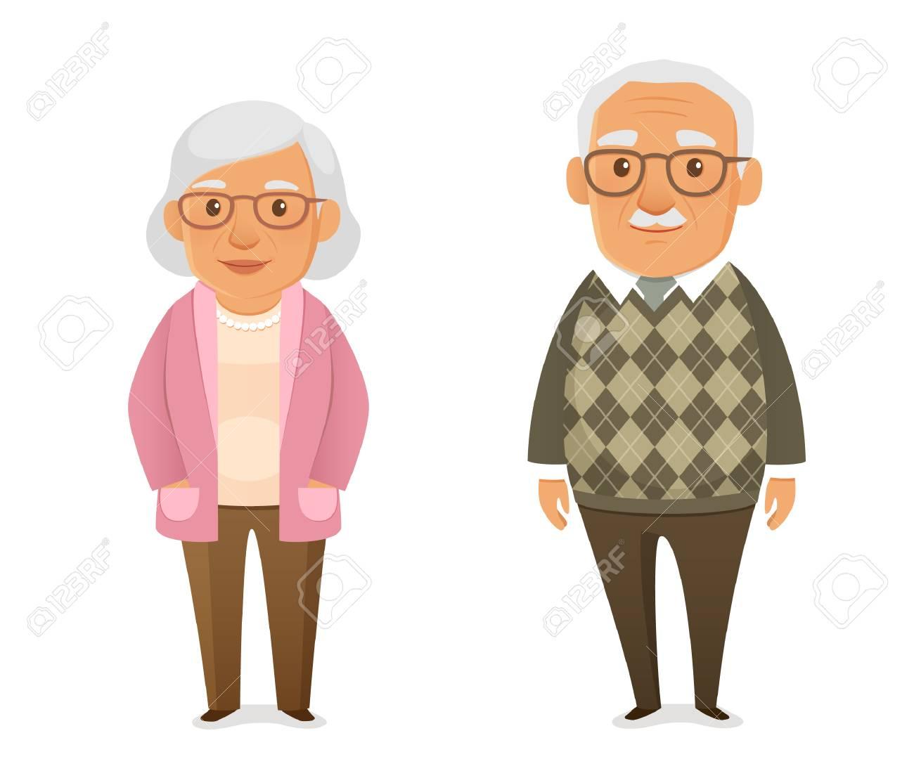 funny cartoon elderly couple - 97072083