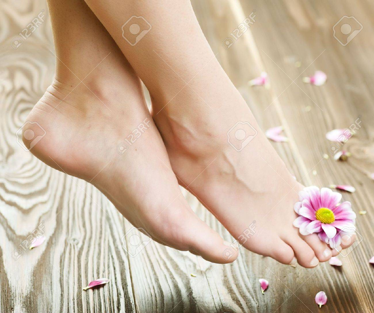 Beautiful Woman Feet with flower.Spa or pedicure concept Stock Photo - 6666435