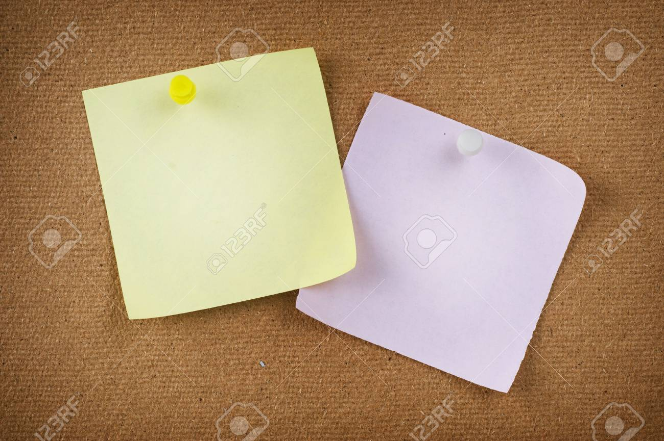 Note papers with push pins on notice board Stock Photo - 9202535