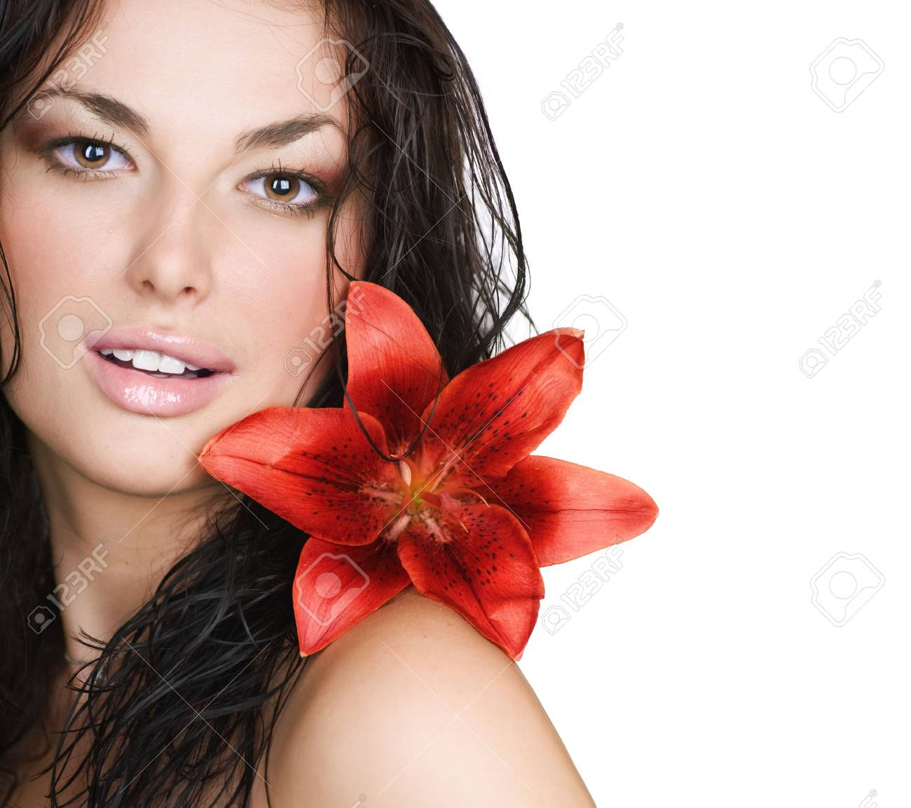 Beautiful Sexy Young Woman with flower Stock Photo - 9202569