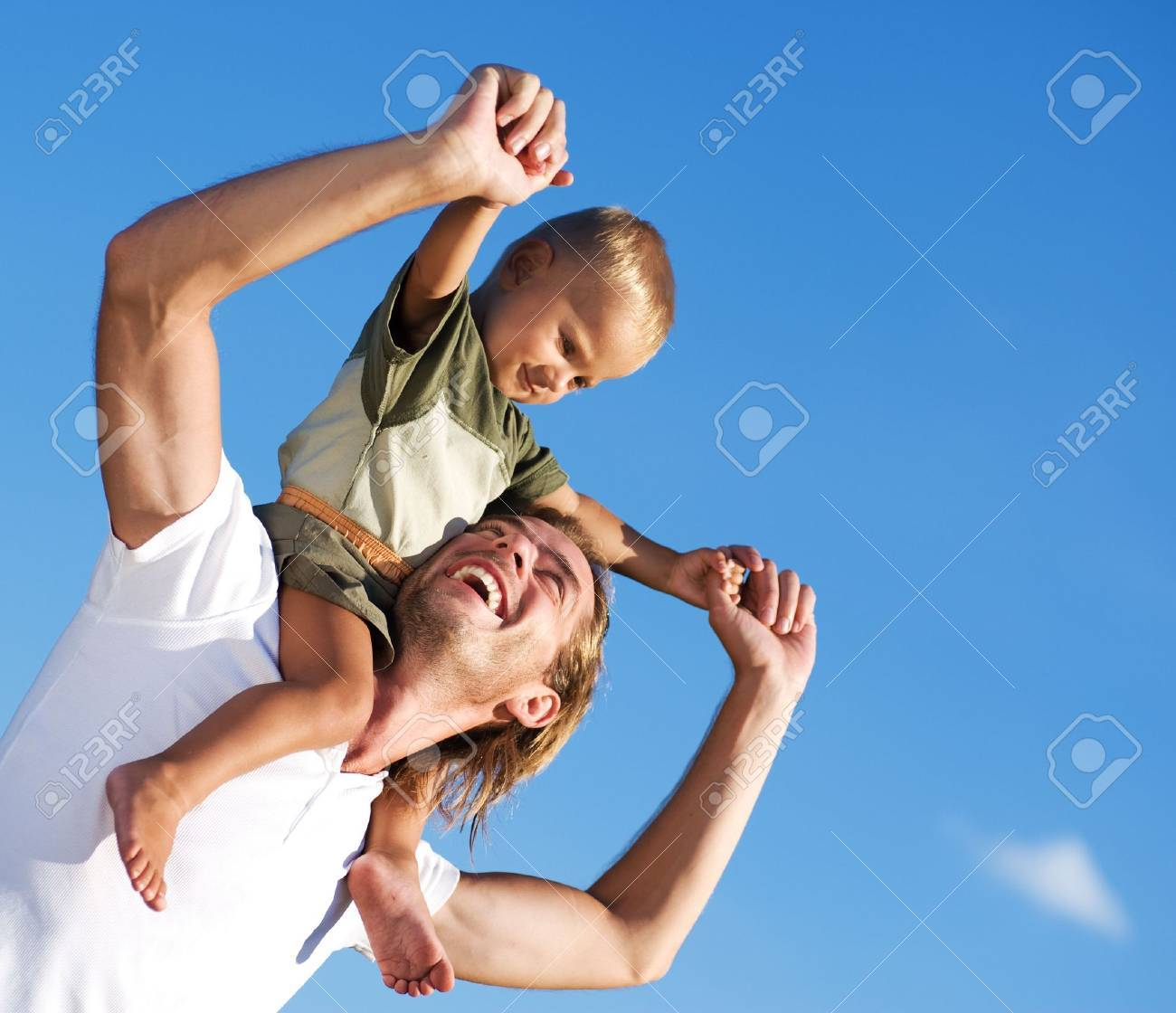 Happy Father and Son outdoor Stock Photo - 7683076
