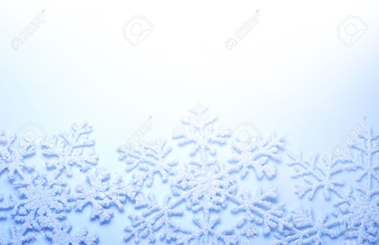 Snowflakes Border Winter Holiday Background Stock Photo