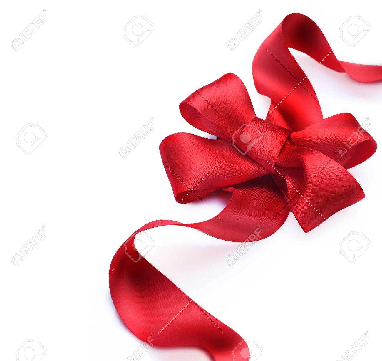 Red satin gift bow. Ribbon. Isolated on white Stock Photo - 9358002