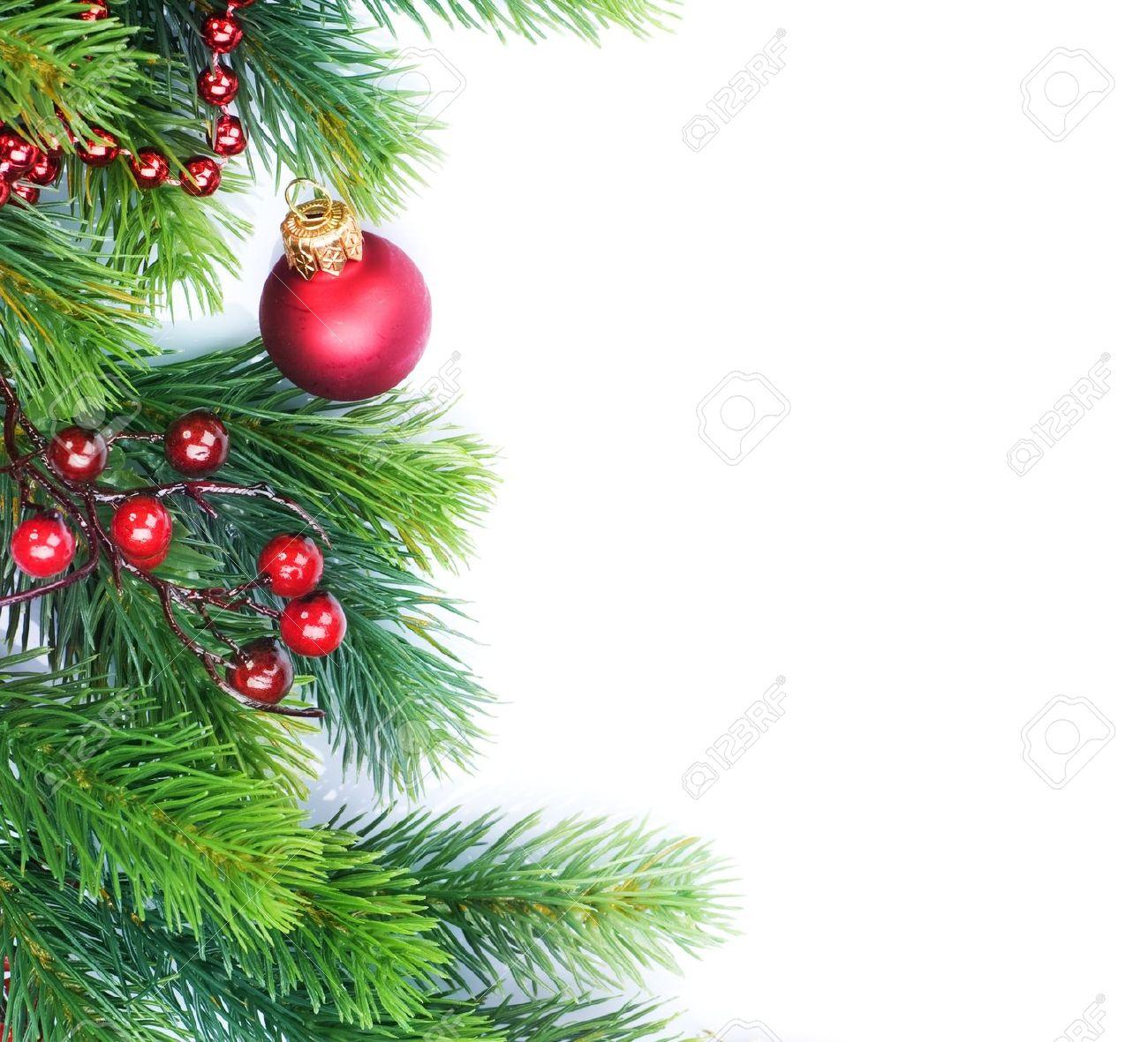 Christmas Border Decorations Over White Stock Photo