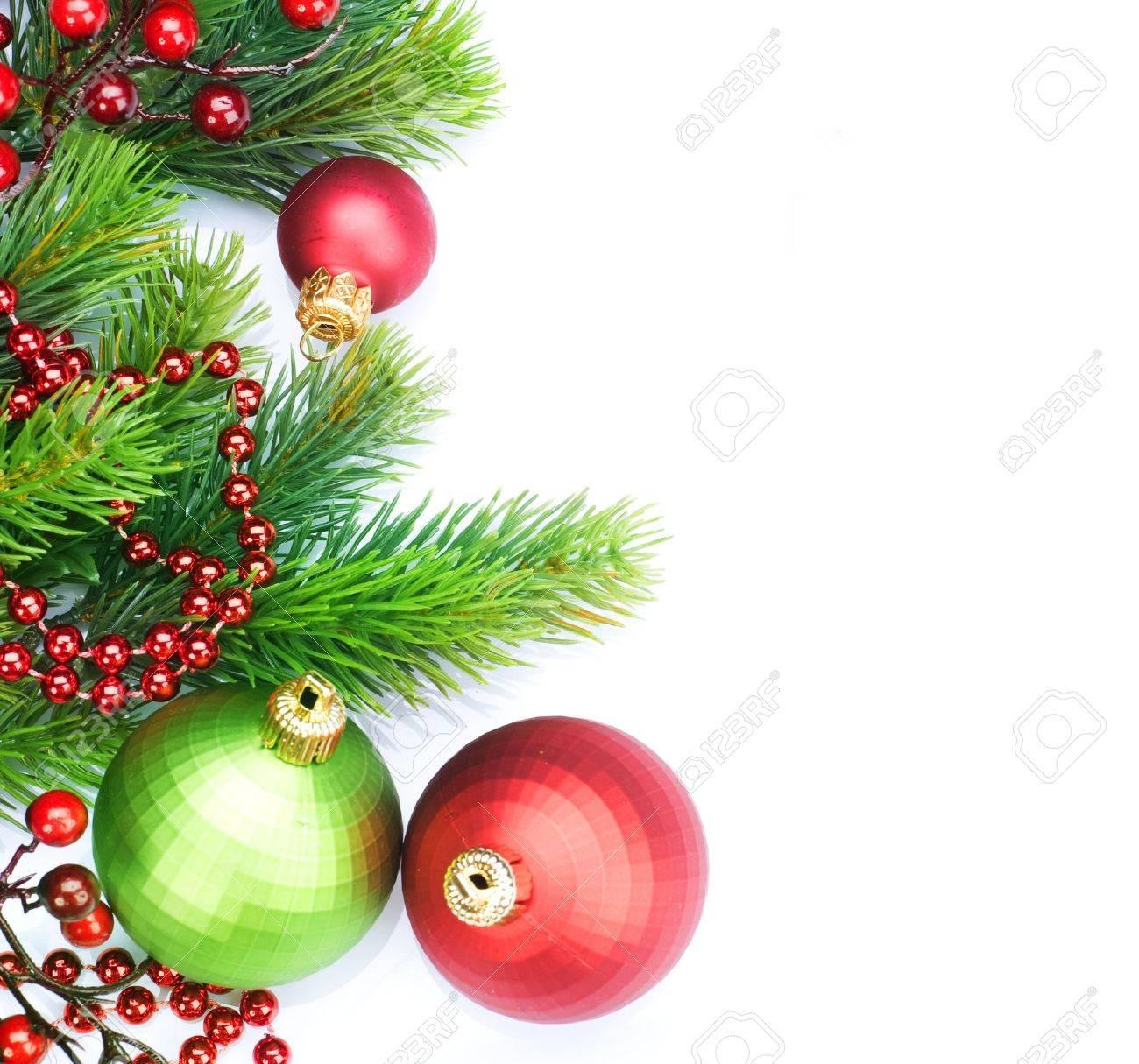 Christmas Border Decorations over white Stock Photo - 9357959
