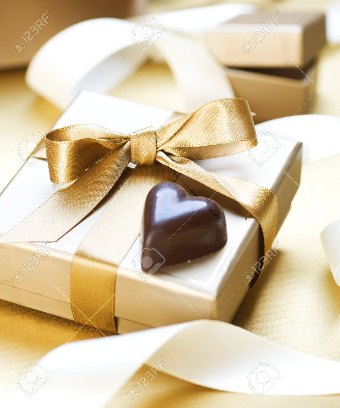 Valentine Gift.Chocolate Heart Shaped Stock Photo, Picture And ...