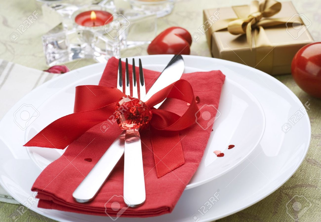 Stock Photo - Valentine Table Setting place.Romantic dinner concept & Valentine Table Setting Place.Romantic Dinner Concept Stock Photo ...